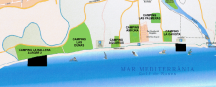 Mapa de les zones de Kitesurf a  Sant Pere Pescador